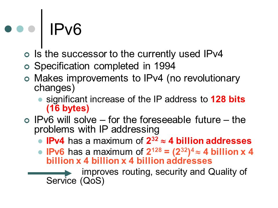 IPv6 Is the successor to the currently used IPv4