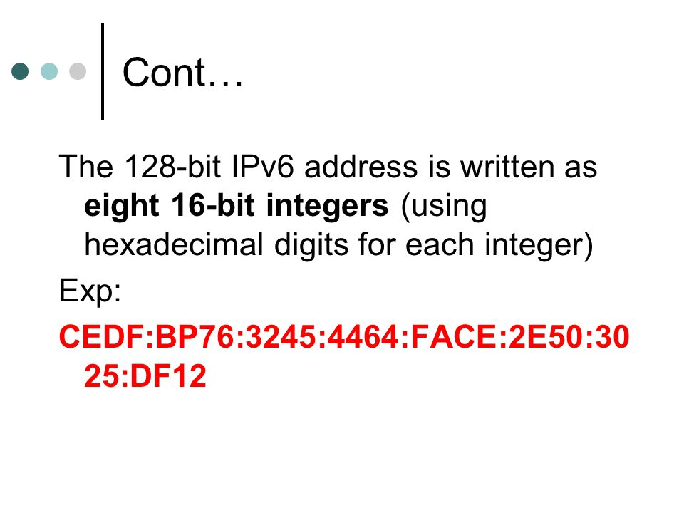 Cont… The 128-bit IPv6 address is written as eight 16-bit integers (using hexadecimal digits for each integer)