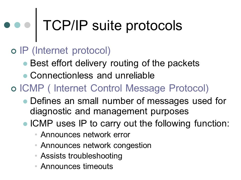 TCP/IP suite protocols