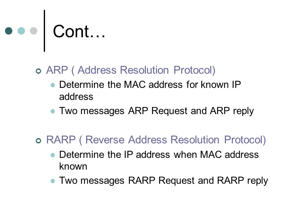 Cont… ARP ( Address Resolution Protocol)