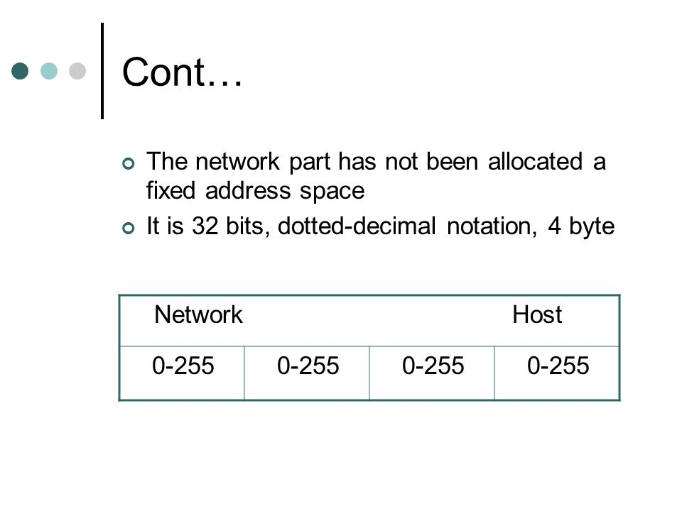 Cont… The network part has not been allocated a fixed address space