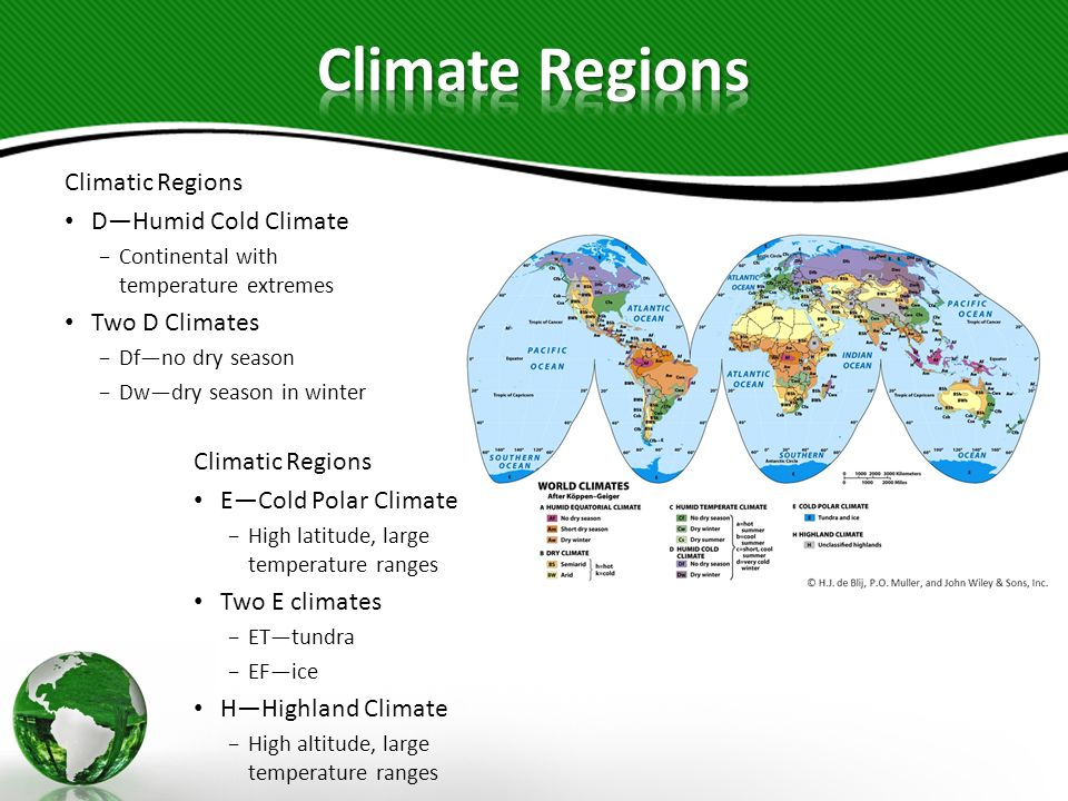 Climate Regions Climatic Regions D—Humid Cold Climate Two D Climates