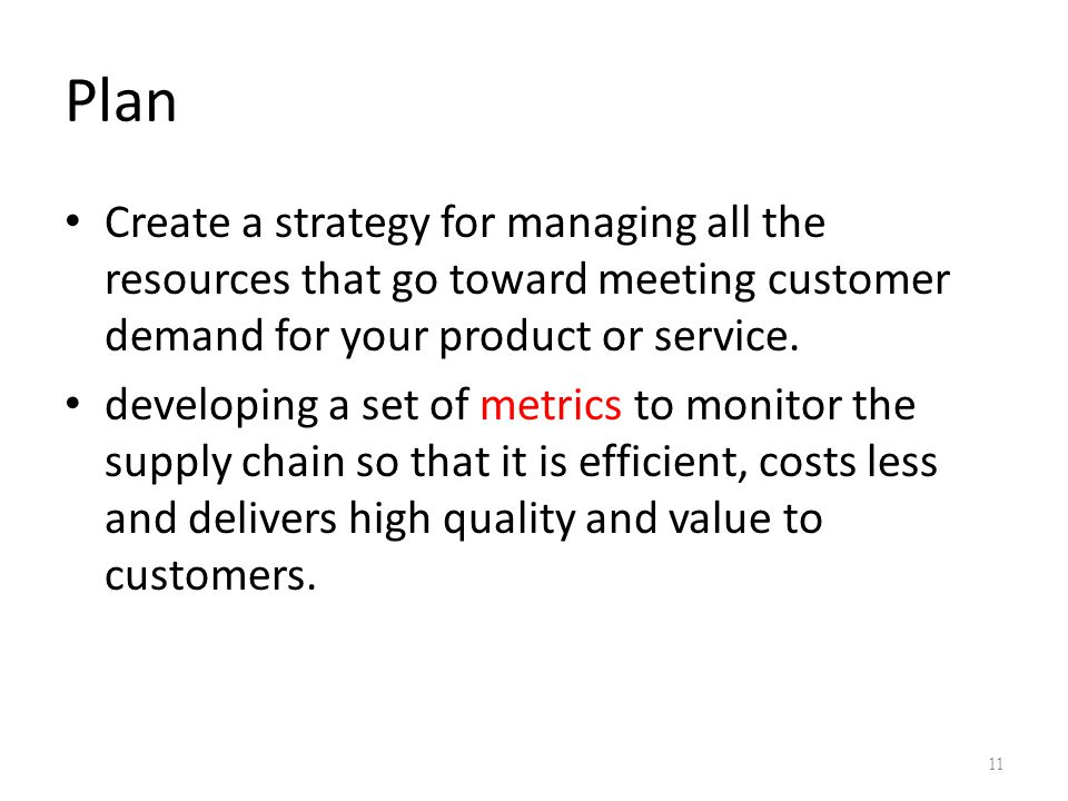 Plan Create a strategy for managing all the resources that go toward meeting customer demand for your product or service.