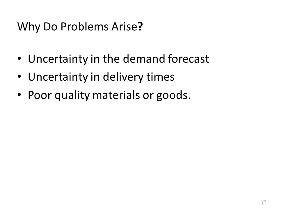 Why Do Problems Arise. Uncertainty in the demand forecast.