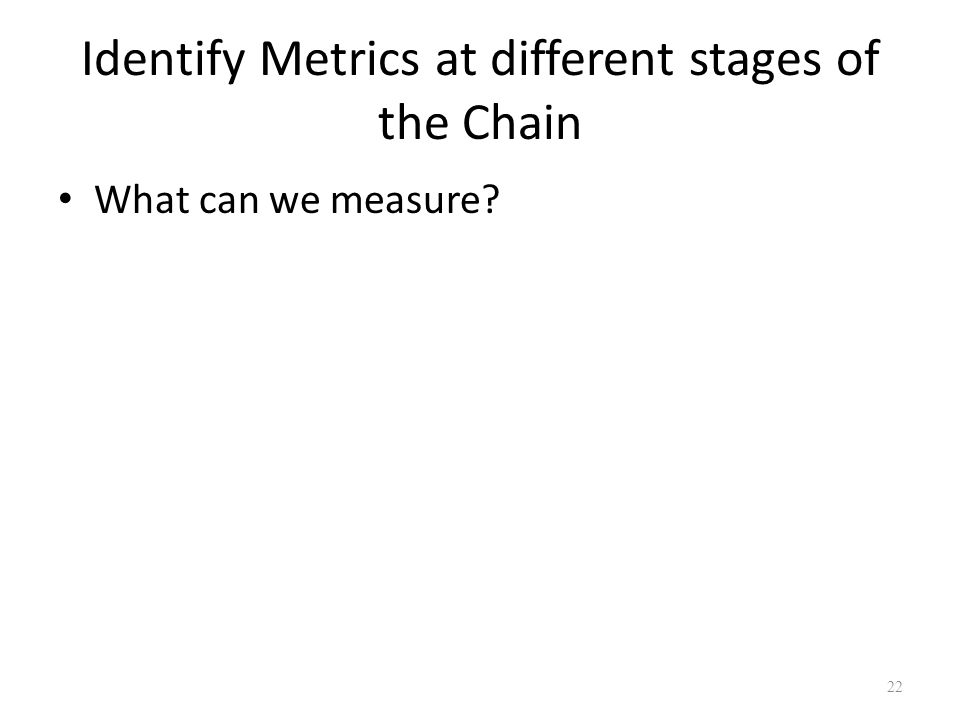 Identify Metrics at different stages of the Chain