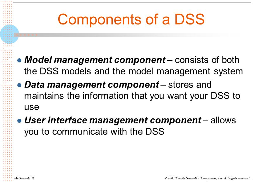 Components of a DSS Model management component – consists of both the DSS models and the model management system.