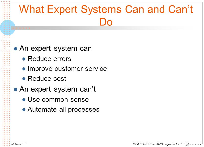 What Expert Systems Can and Can't Do