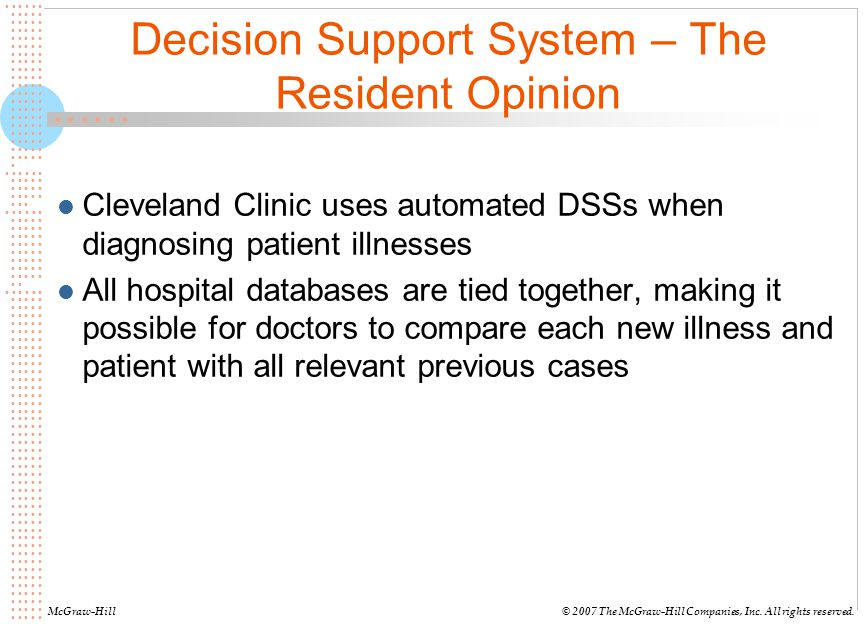 Decision Support System – The Resident Opinion