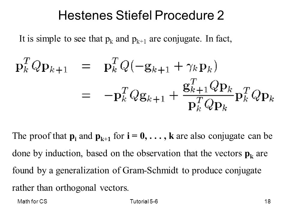 Hestenes Stiefel Procedure 2