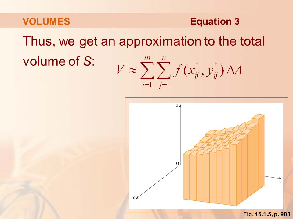 Thus, we get an approximation to the total volume of S: