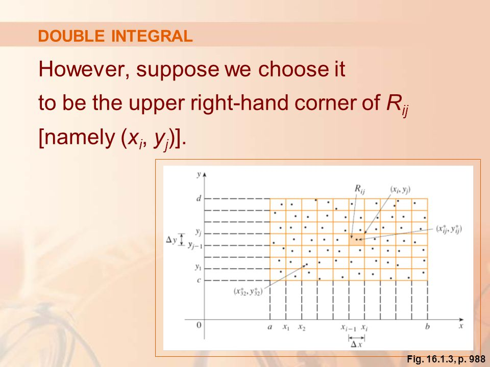 DOUBLE INTEGRAL However, suppose we choose it to be the upper right-hand corner of Rij [namely (xi, yj)].