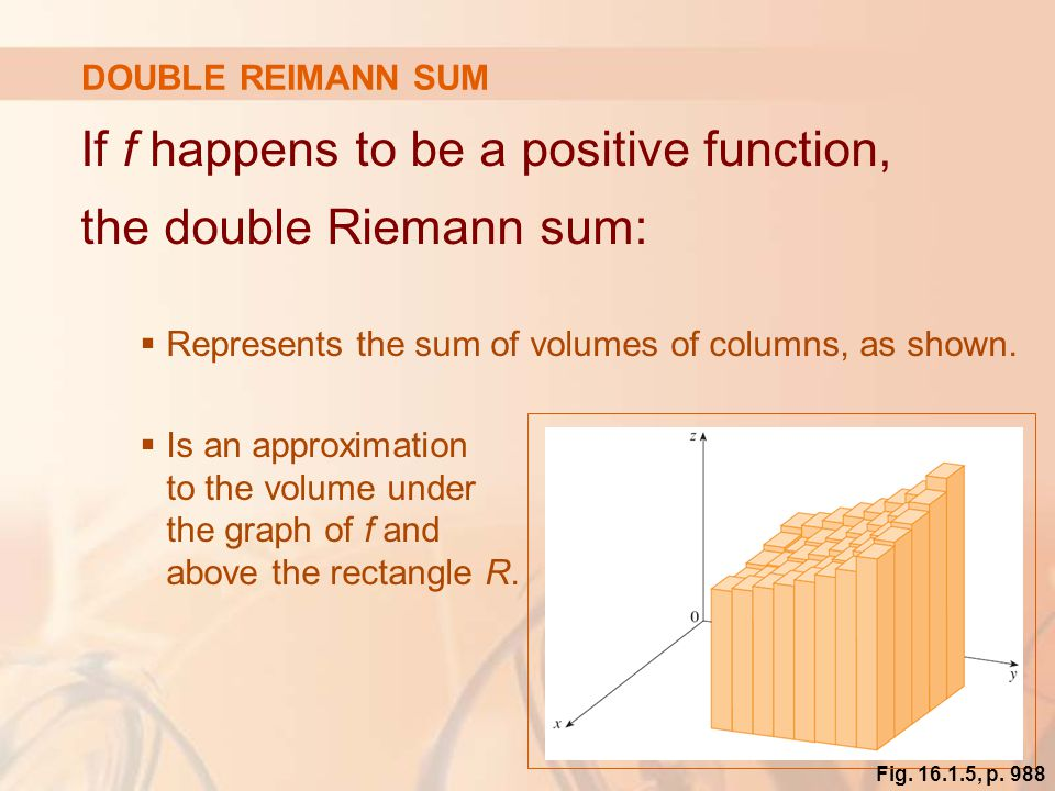 If f happens to be a positive function, the double Riemann sum: