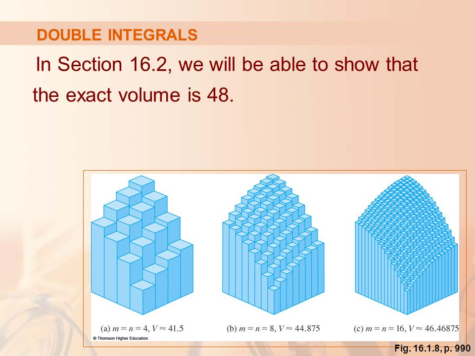 In Section 16.2, we will be able to show that the exact volume is 48.