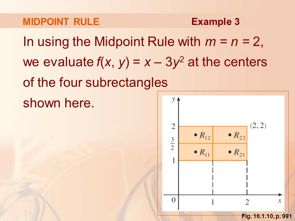 MIDPOINT RULE Example 3.