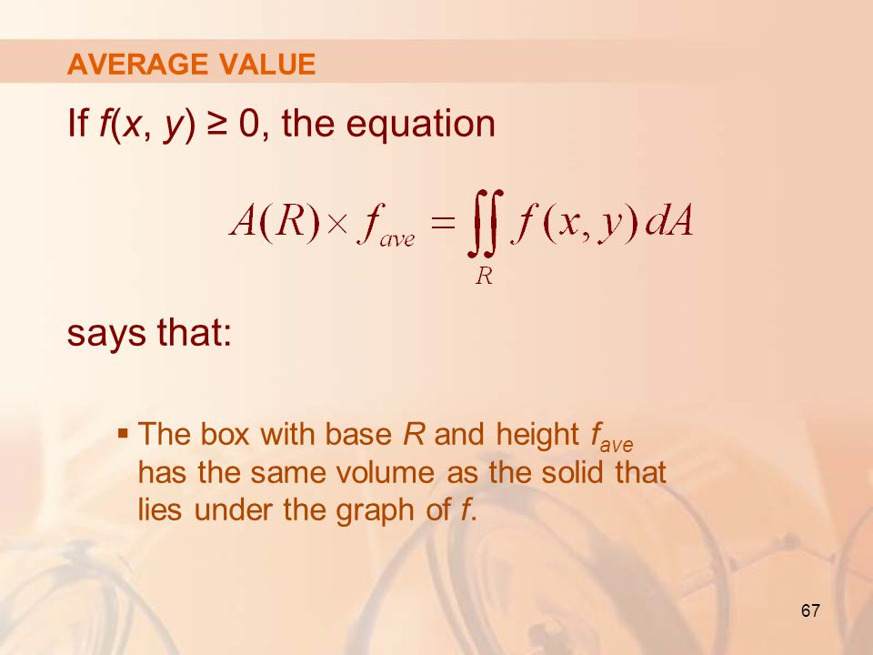 If f(x, y) ≥ 0, the equation says that: