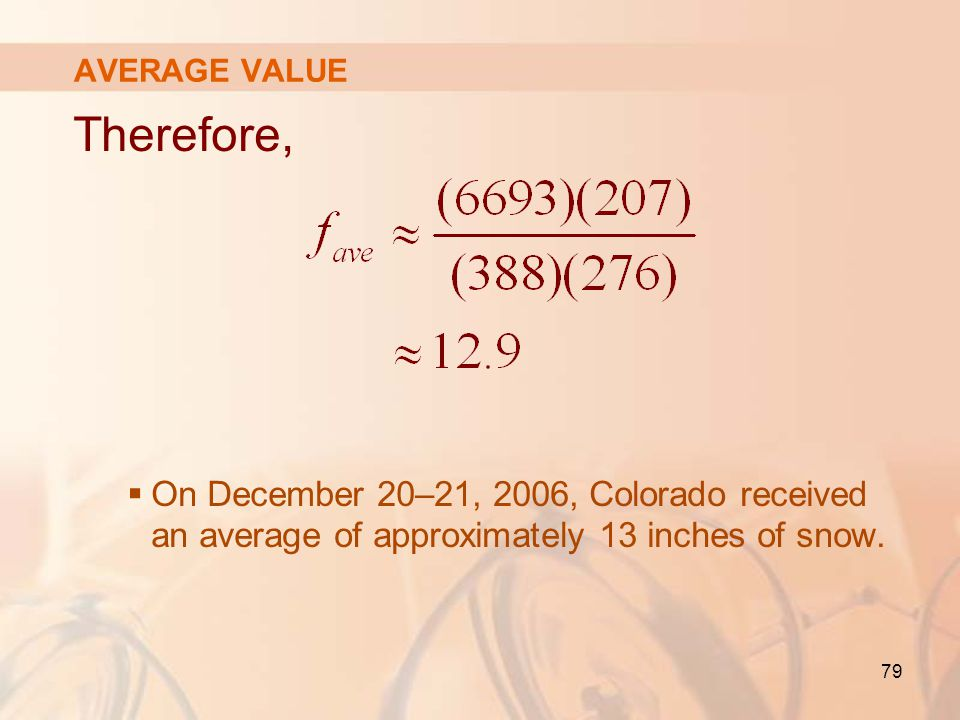 AVERAGE VALUE Therefore, On December 20–21, 2006, Colorado received an average of approximately 13 inches of snow.