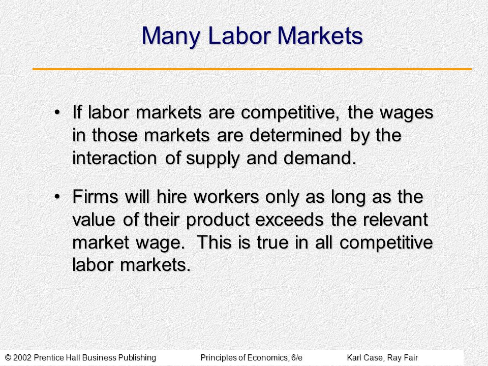 Many Labor Markets If labor markets are competitive, the wages in those markets are determined by the interaction of supply and demand.