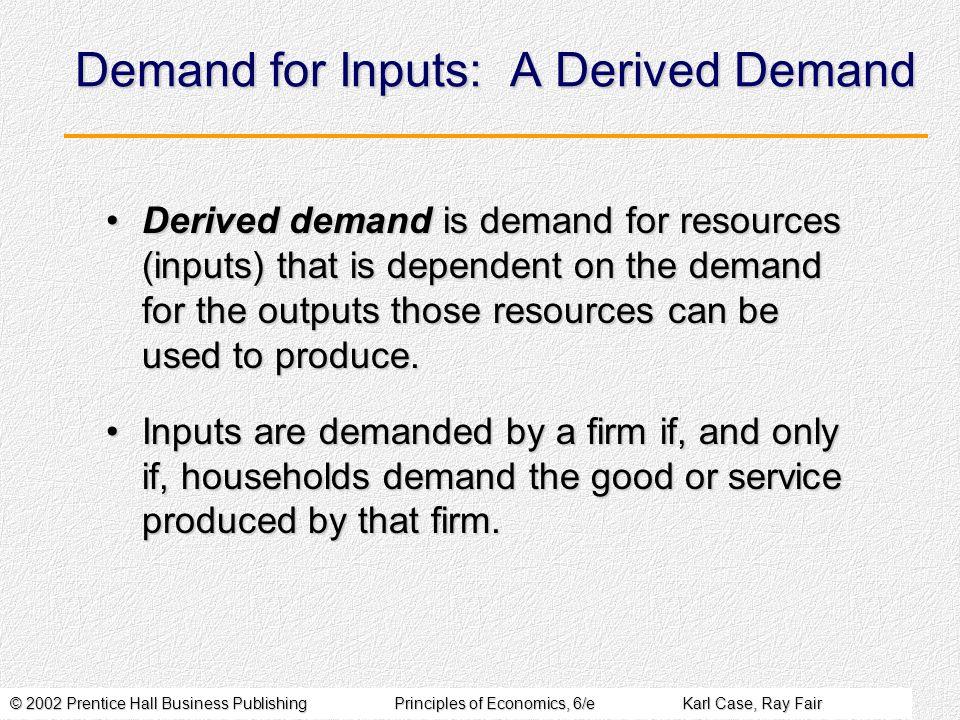 Demand for Inputs: A Derived Demand