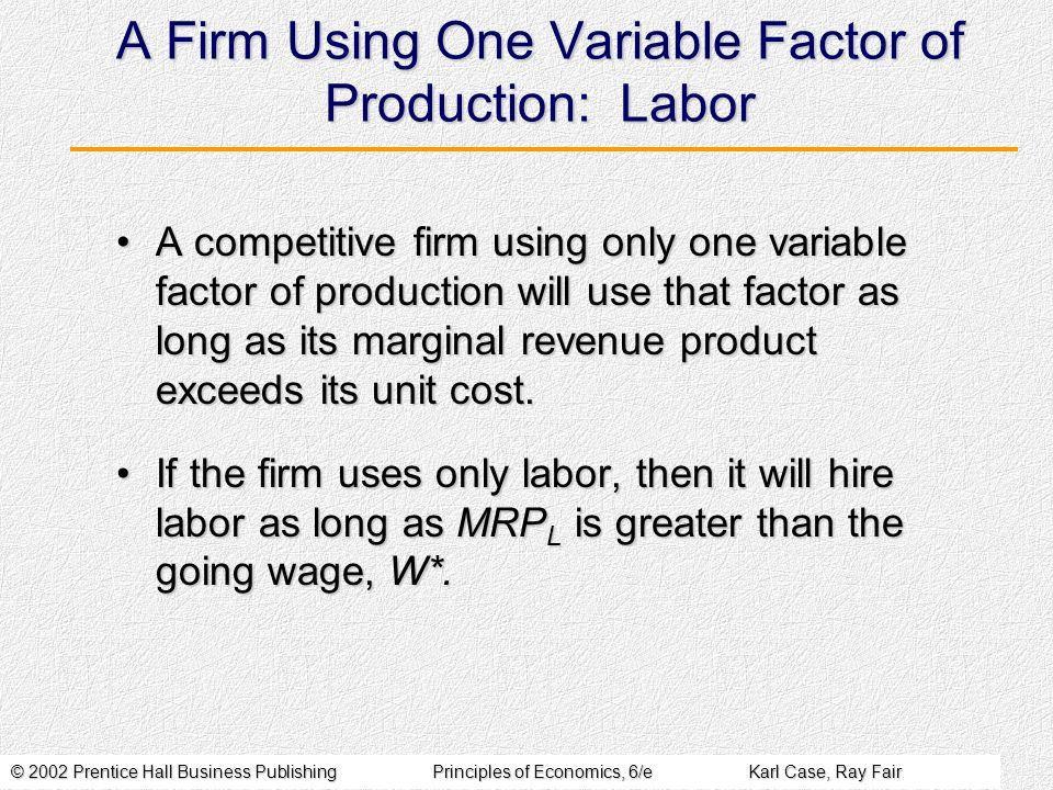A Firm Using One Variable Factor of Production: Labor