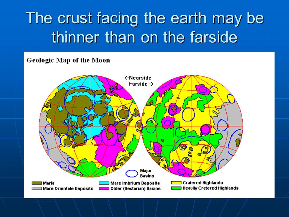 The crust facing the earth may be thinner than on the farside