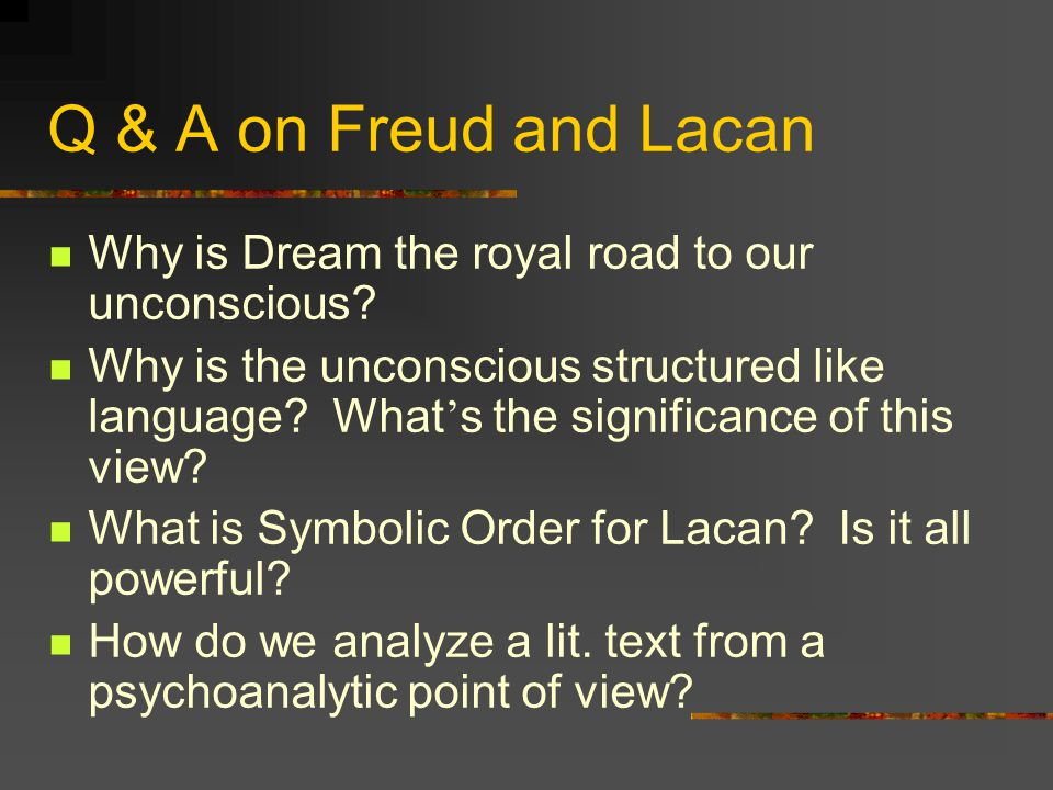 freud saussure and lacan interpreting dreams This is an important point: lacan follows freud in making use of analogies to  explain  when saussure's theory is put together with freud's it is not difficult to  see that  is generated not by the normal meaning of a word but by the place the  word has  to the displacement of desire that characterizes the dream work in  freud.