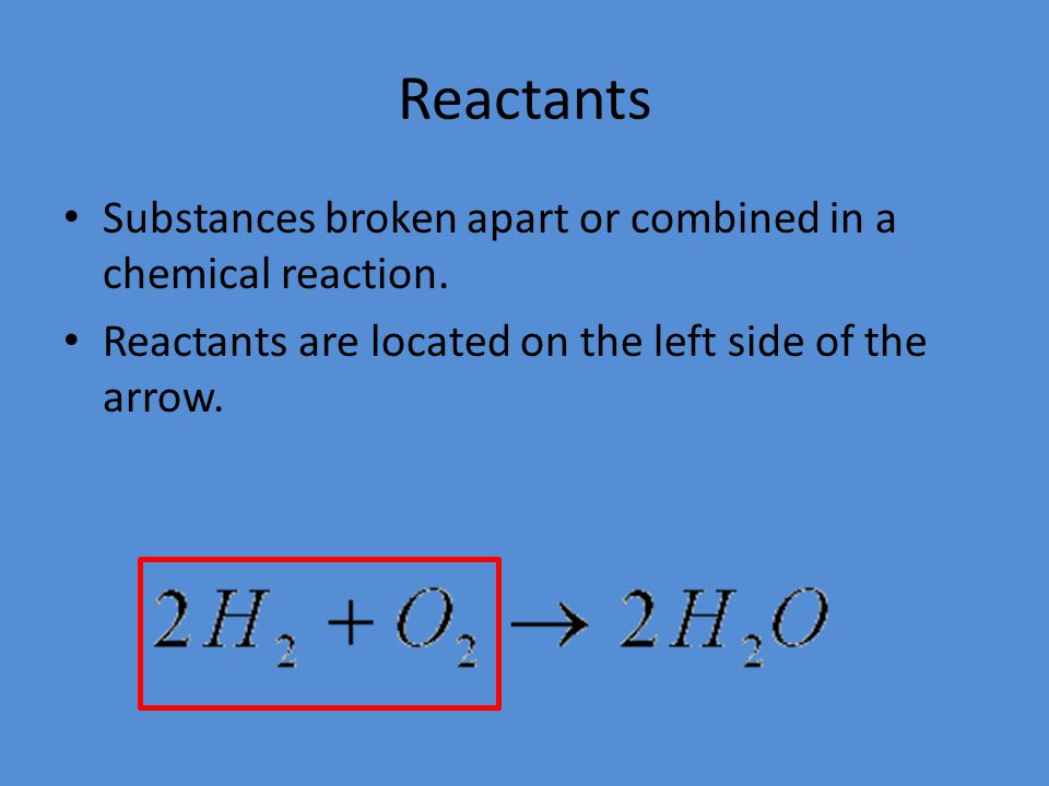 Reactants Substances broken apart or combined in a chemical reaction.