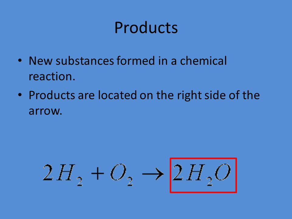 Products New substances formed in a chemical reaction.