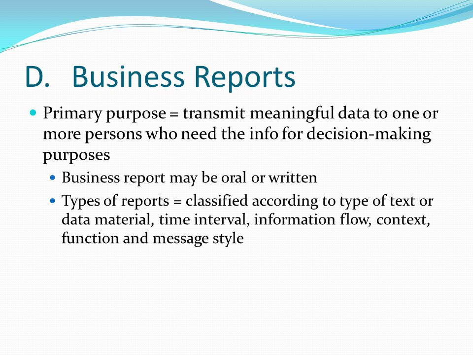 Office Administration Chapter 8 ppt download – Type of Business Report