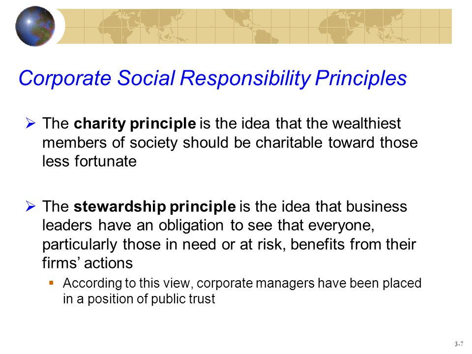 general principles of corporate social responsibility with ge Ge board of directors the primary role of ge's board of directors is to oversee how management serves the interests of shareowners and other stakeholders to do this, ge's directors have adopted corporate governance principles aimed at ensuring that the board is independent and fully informed on the key strategic and risk issues ge faces.