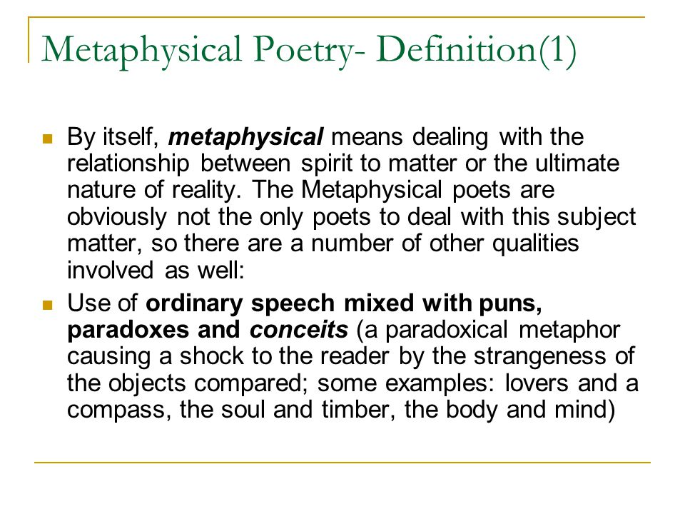metaphysical definition literature