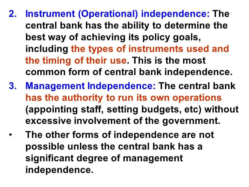 central bank independence thesis The objective of the thesis was to study monetary policy frameworks in developing countries the thesis focused on three aspects of the monetary framework the degree of central bank independence, the monetary policy strategy and the exchange rate regime.
