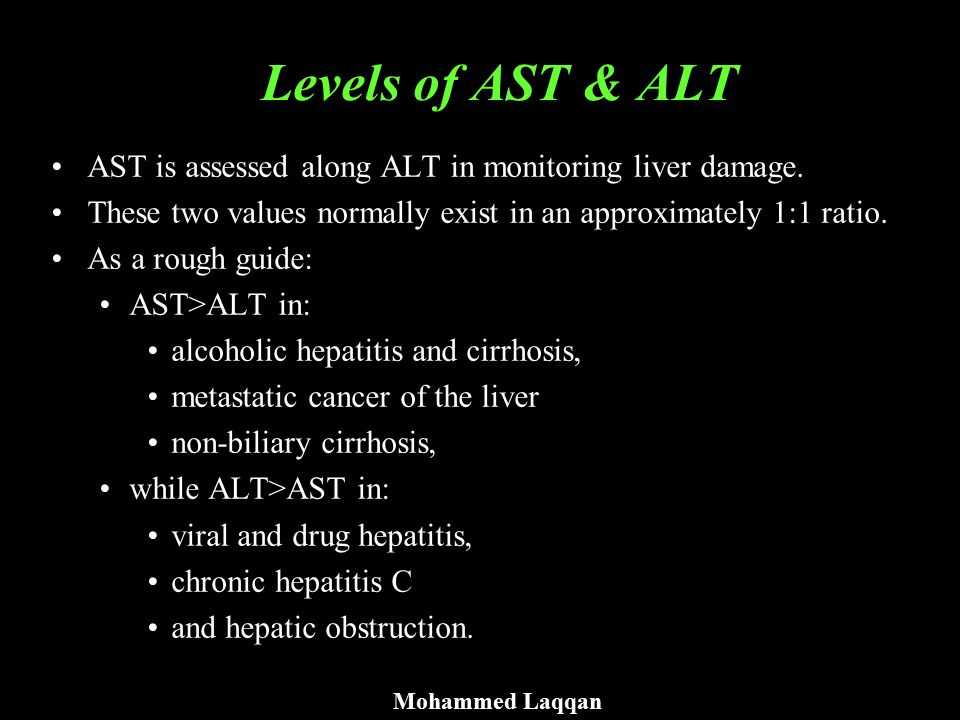 Levels of AST & ALT AST is assessed along ALT in monitoring liver damage. These two values normally exist in an approximately 1:1 ratio.