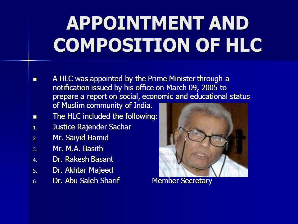 APPOINTMENT AND COMPOSITION OF HLC