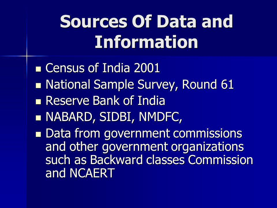 Sources Of Data and Information