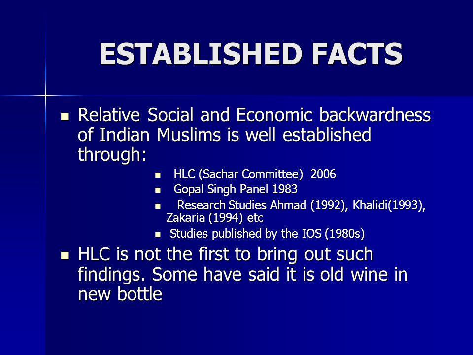 ESTABLISHED FACTSRelative Social and Economic backwardness of Indian Muslims is well established through: