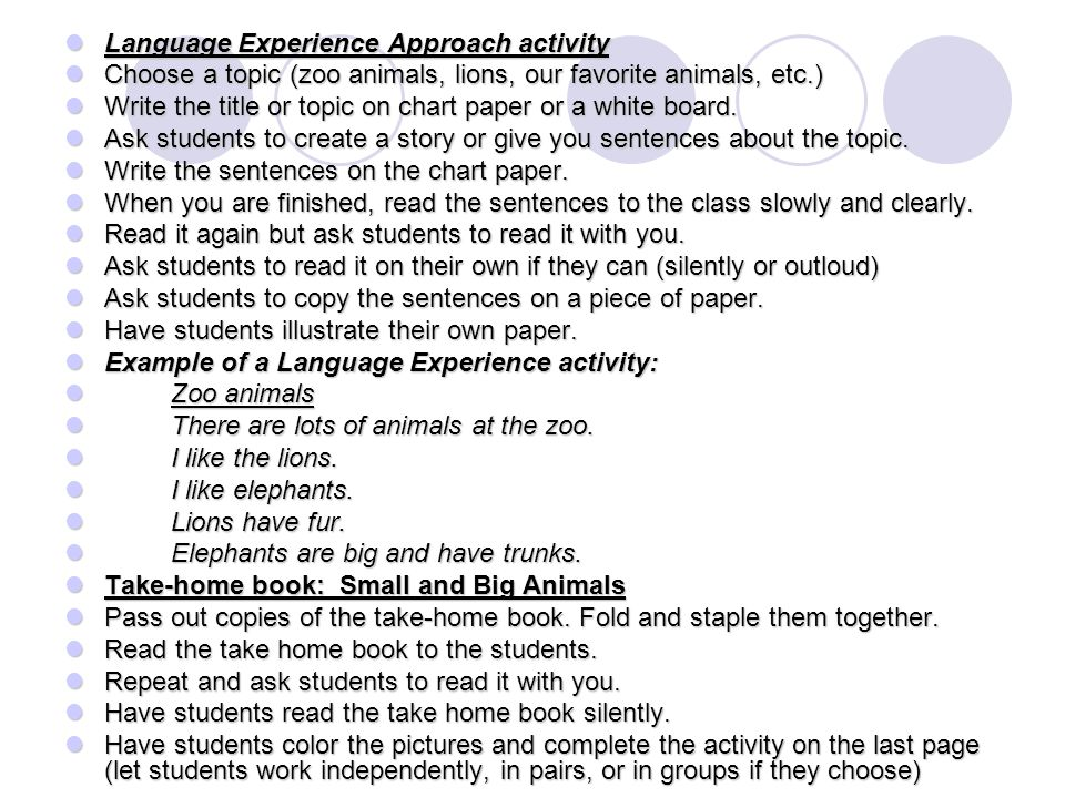 Research thesis the language experience approach