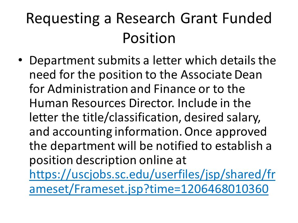 Requesting a Research Grant Funded Position