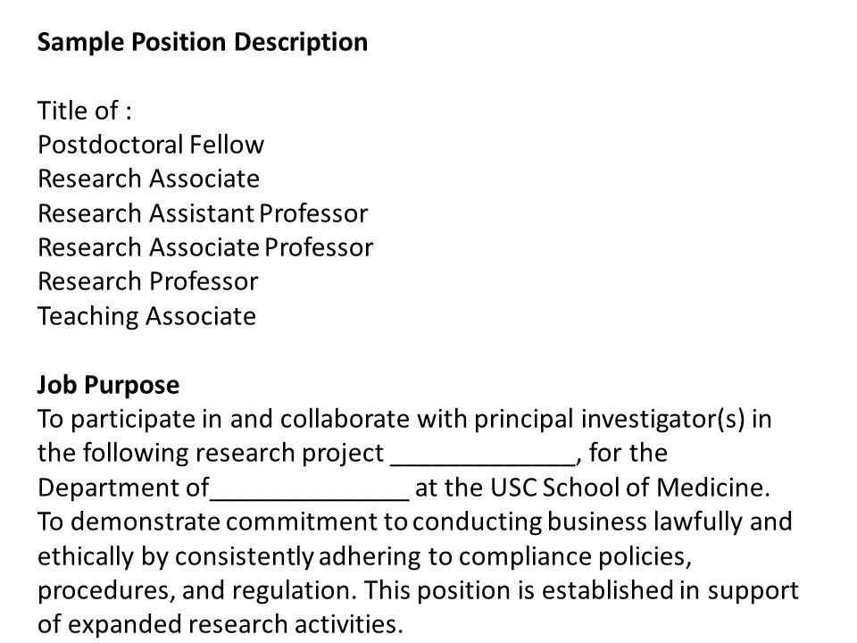 Sample Position Description Title of : Postdoctoral Fellow