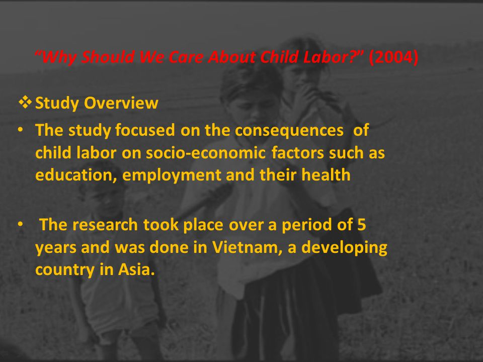 socio economic effects of child labour in Literature the picture of the known effects of child labour  sectors and socio-economic impacts of  of the socioeconomic impacts of child labour.
