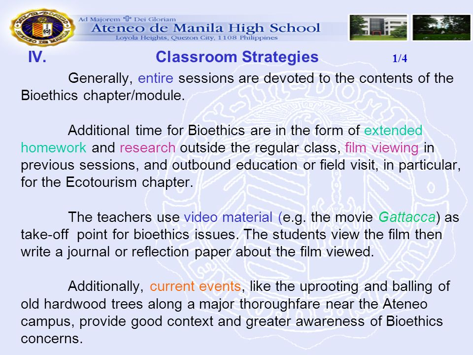 IV. Classroom Strategies 1/4