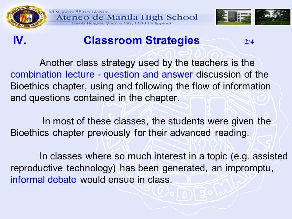 IV. Classroom Strategies 2/4