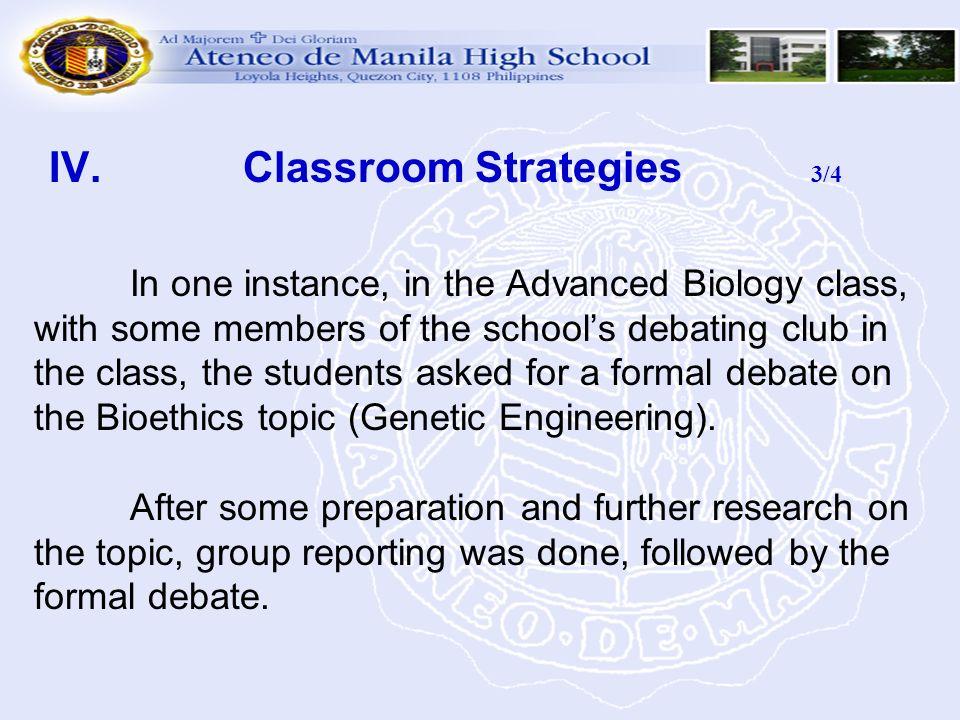 IV. Classroom Strategies 3/4