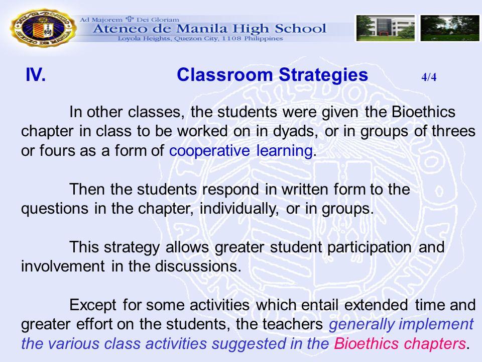 IV. Classroom Strategies 4/4