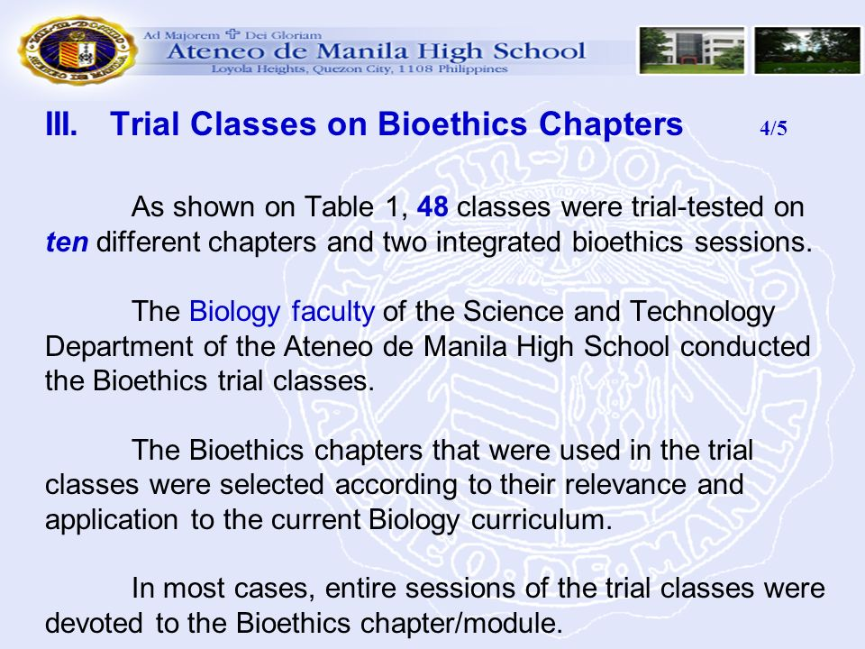 III. Trial Classes on Bioethics Chapters 4/5