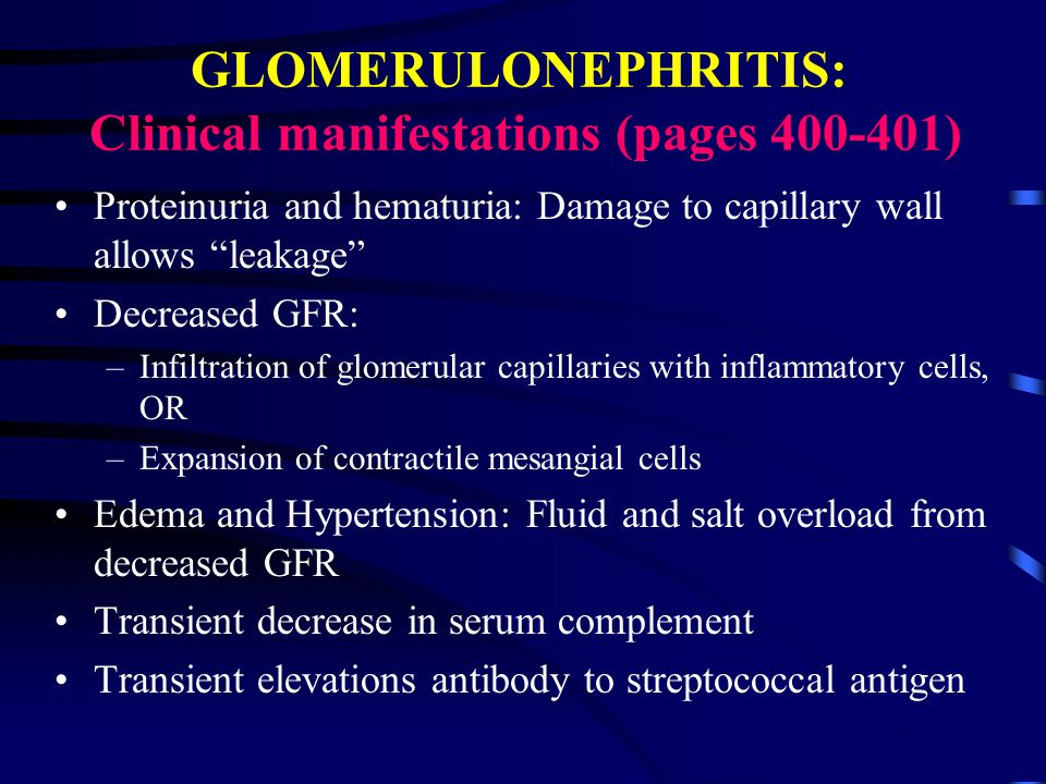 GLOMERULONEPHRITIS: Clinical manifestations (pages )