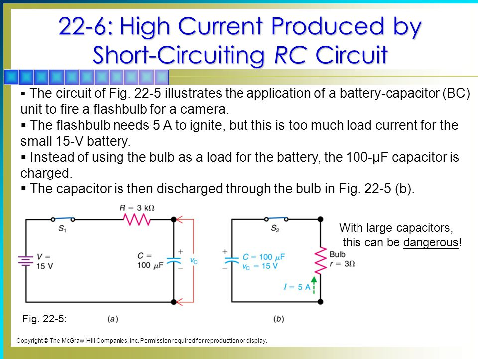 22-6: High Current Produced by Short-Circuiting RC Circuit