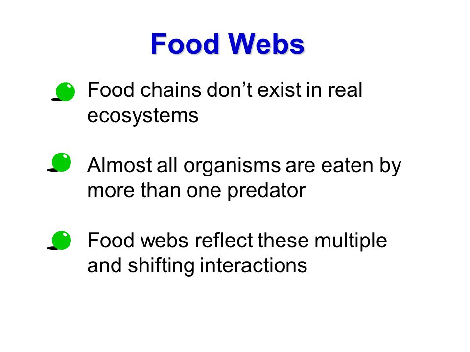 Food Webs Food chains don't exist in real ecosystems