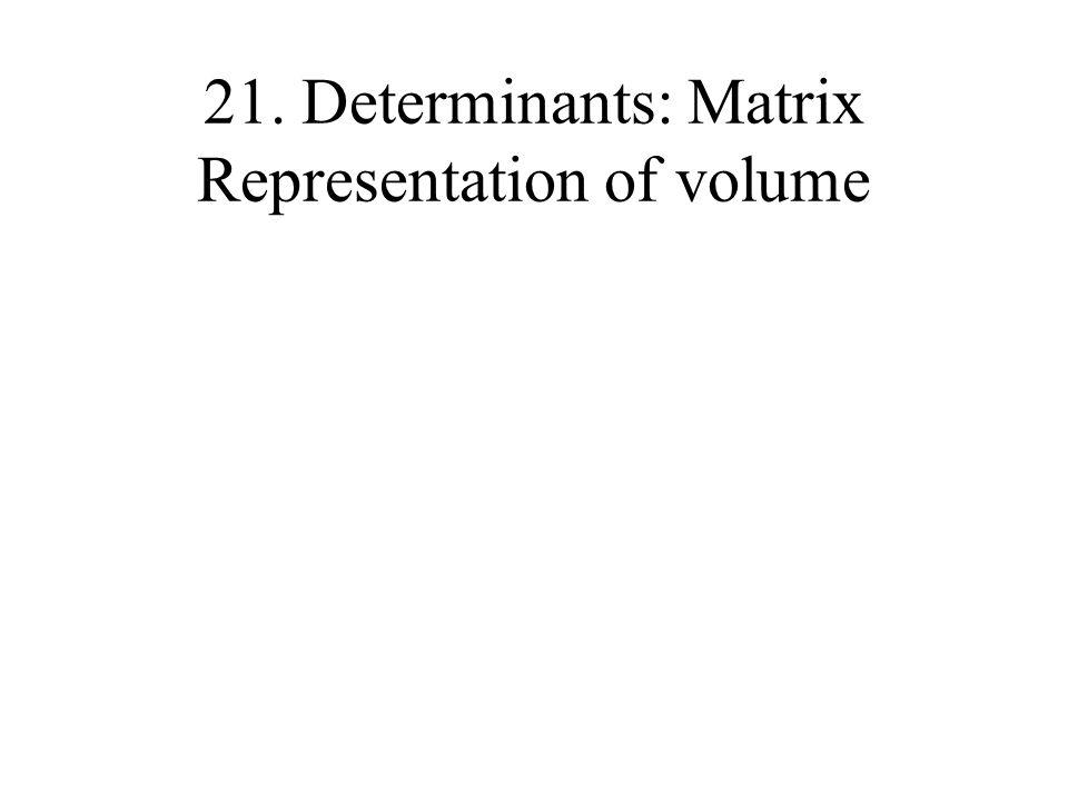 21. Determinants: Matrix Representation of volume