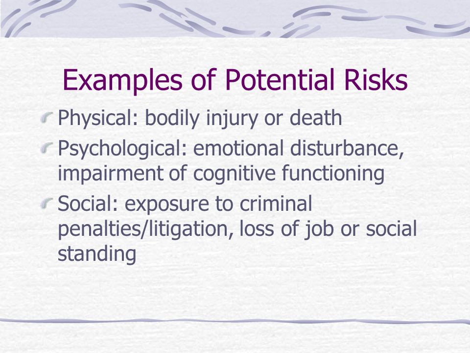 Examples of Potential Risks