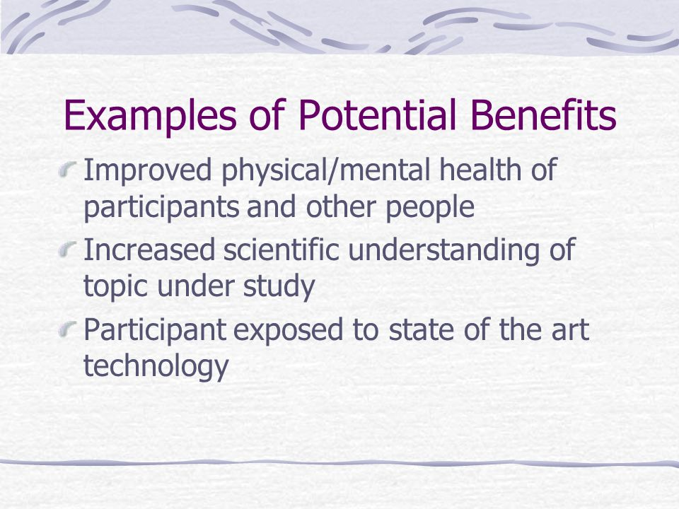 Examples of Potential Benefits